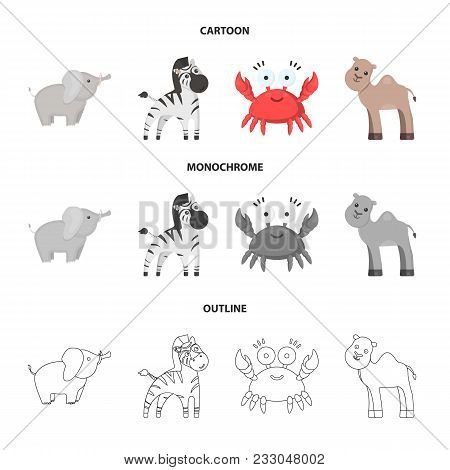 An Unrealistic Cartoon, Outline, Monochrome Animal Icons In Set Collection For Design. Toy Animals V