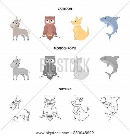 Donkey, Owl, Kangaroo, Shark.animal Set Collection Icons In Cartoon, Outline, Monochrome Style Vecto