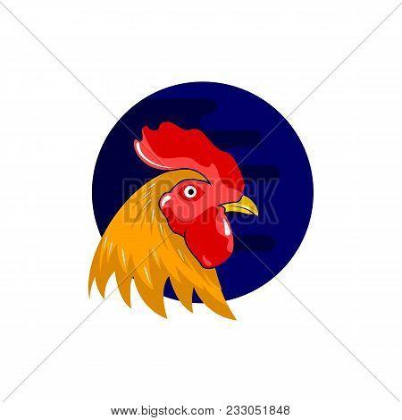 Animal Chicken Roaster Head Vector Illustration Template