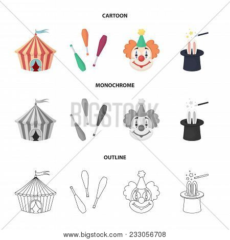 Circus Tent, Juggler Maces, Clown, Magician Hat.circus Set Collection Icons In Cartoon, Outline, Mon