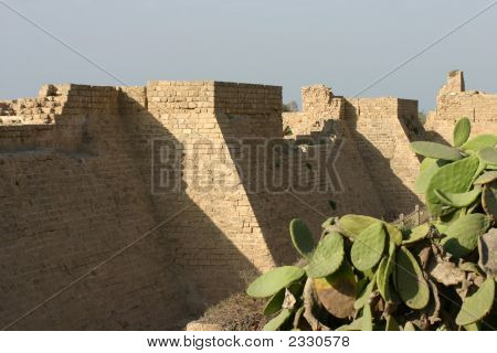 Wall Of The Crusaders City In Caesarea, Israel