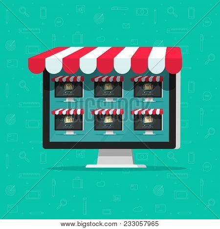 Marketplace Online Store Vector Illustration, Flat Cartoon Internet Multivendor Shop On Computer Wit