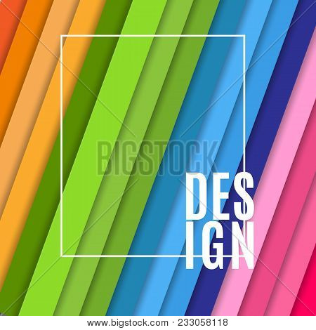 Abstract Banner With White Frame And Text Design On Bright Colorful Background From Inclined Diagona