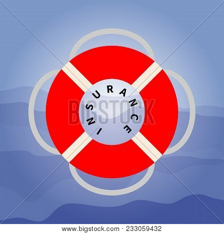 Vector Flat Illustration Of A Red Lifebuoy With A Rope On The Dark Blue Waves Background. Modern Sty