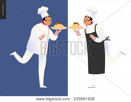 Italian Restaurant Set - Two Cooks Wearing The Uniform Holding A Dish Of Pasta With Red Bolognese Sa