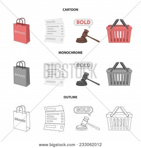 Bag And Paper, Check, Calculation And Other Equipment. E Commerce Set Collection Icons In Cartoon, O