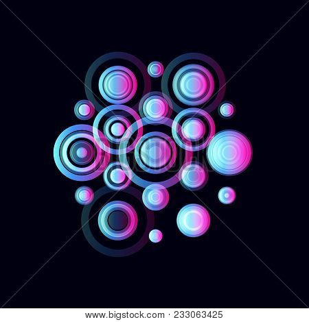 Colorful Circles, Pulsating Audio Speakers. Colored Musical Radio Logo Template. Music Fest Logotype