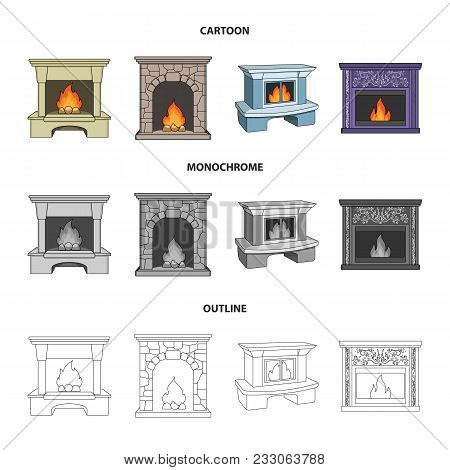 Fire, Warmth And Comfort.fireplace Set Collection Icons In Cartoon, Outline, Monochrome Style Vector