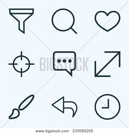 Interface Icons Line Style Set With Return, Messenger, Enlarge And Other Heat Elements. Isolated Vec