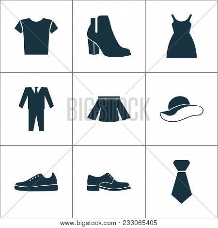 Garment Icons Set With Boots, Skirt, Male Footwear And Other Elegant Headgear Elements. Isolated Vec