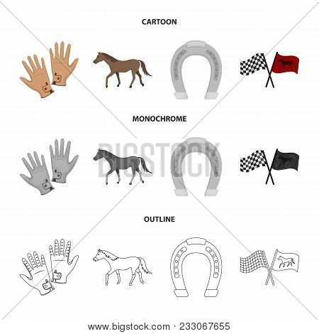Race, Track, Horse, Animal .hippodrome And Horse Set Collection Icons In Cartoon, Outline, Monochrom