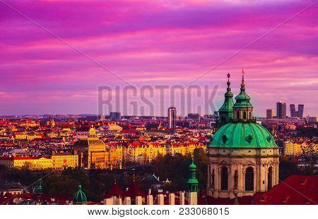 Czech Republic, Prague City Panorama. City Prague Panoramic View, Cityscape, Architecture.