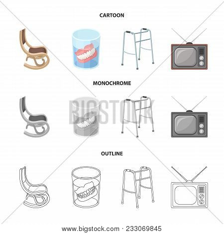 Denture, Rocking Chair, Walker, Old Tv.old Age Set Collection Icons In Cartoon, Outline, Monochrome