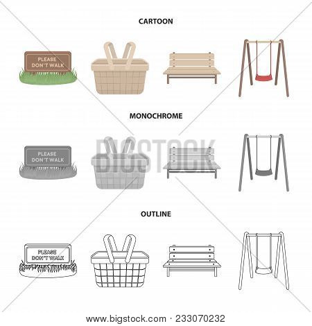 Lawn With A Sign, A Basket With Food, A Bench, A Swing. Park Set Collection Icons In Cartoon, Outlin