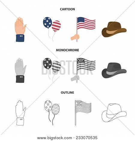 Balloons, National Flag, Cowboy Hat, Palm Hand.patriot Day Set Collection Icons In Cartoon, Outline,