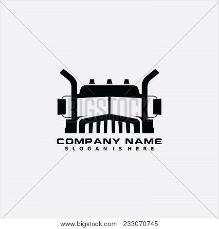 Logo Illustration Truck, Front View, White Background