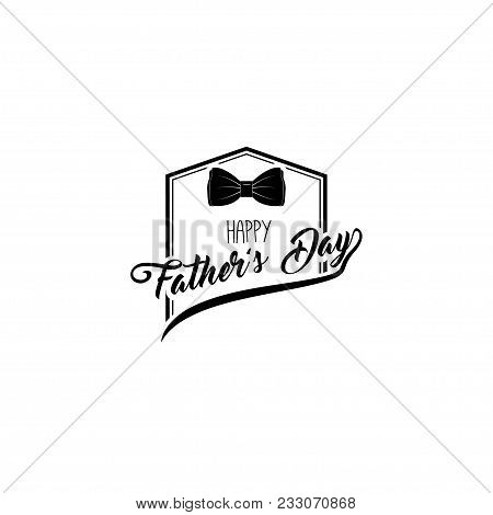 Bow-tie, Happy Fathers Day Greeting Card. Family Holiday. Vector Illustration.