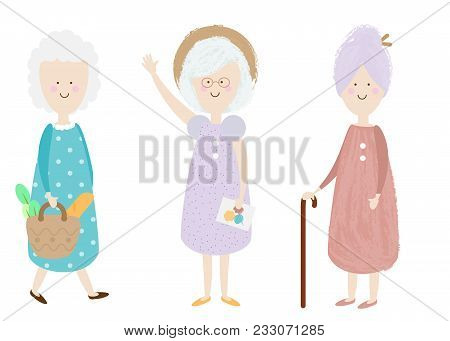 Elderly Women. Happy Old Lady. Cartoon Senior Female. Grandmother Shopping, Standing. Retired Activi