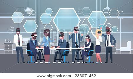 Business People Group Wearing Vr Headset During Brainstorming, Team In 3d Glasses On Meeting Virtual