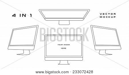 Outline Computer Monitor Isolated On Whitebackground. Can Use For Template Presentation, Web Design