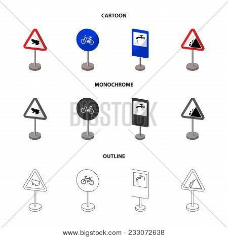 Different Types Of Road Signs Cartoon, Outline, Monochrome Icons In Set Collection For Design. Warni