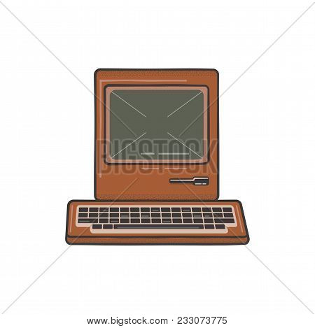 Vintage Hand Drawn Personal Computer With Keyboard. Old Classic Pc With Sign - Old School Rules. Ret