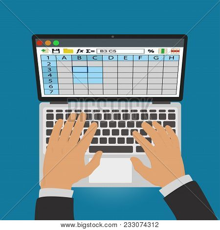Spreadsheets. Work On Laptop. To Illustrate Business And Computer Topics