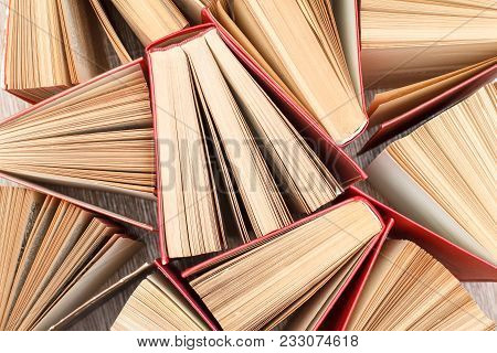 Large Number Of Old Books. Used Hardback Books. View From Above. Education Background