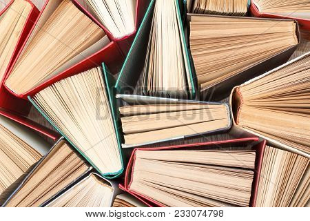 Many Old Books. Used Hardback Books. View From Above. Education Background