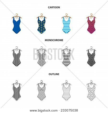Different Kinds Of Swimsuits. Swimsuitsset Collection Icons In Cartoon, Outline, Monochrome Style Ve