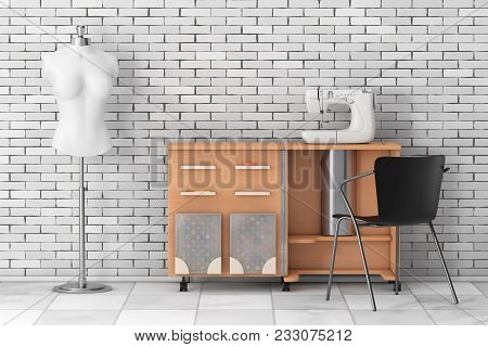 Sewing Machine On Tailor Workshop Wooden Table Near White Vintage Tailor Women Mannequin In Front Of