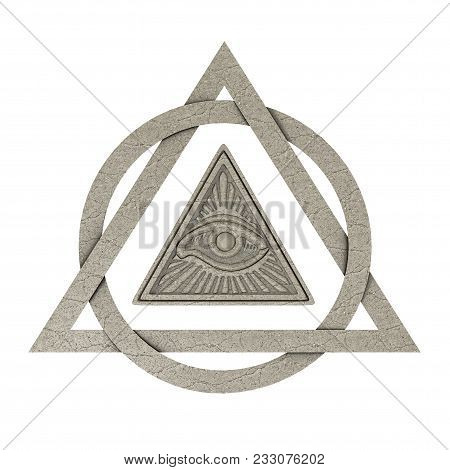 Masonic Symbol Concept. All Seeing Eye Inside Pyramid Triangle As Stone On A White Background. 3d Re