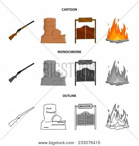 Winchester, Saloon, Rock, Fire.wild West Set Collection Icons In Cartoon, Outline, Monochrome Style