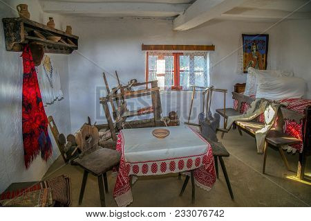 Jebel, Romania - November 29, 2016: Specific Objects From One Interior Of Romanian Farmhouse, The Ba
