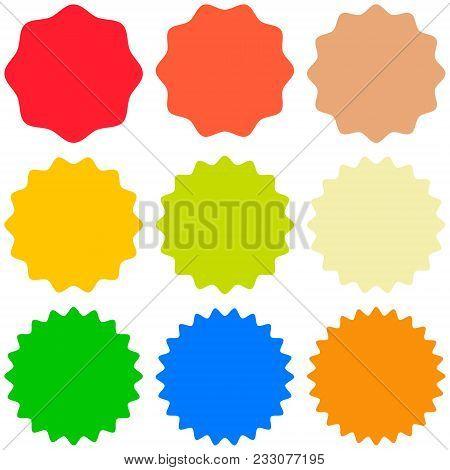 Set Template Sunburst Icons, Shapes Badges Vector Starburst Promo  Burst, For Design Sticker Promo S