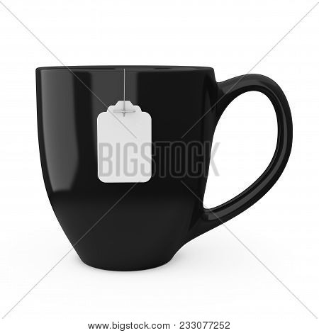 Black Cup Of Tea With Blank White Tea Bag Label Mockup On A White Background. 3d Rendering