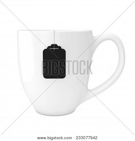 White Cup Of Tea With Blank Black Tea Bag Label Mockup On A White Background. 3d Rendering
