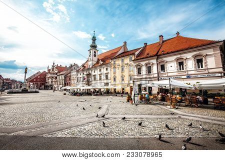 Maribor, Slovenia. August 16, 2015: Maribor, The Main Square. Slovenia. Wide Angle Picture Of The Ce