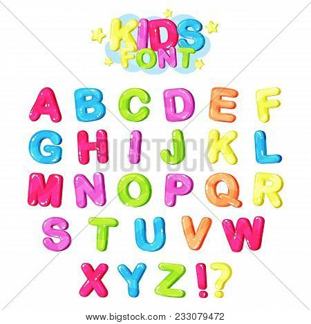 Kids Font, Multicolored Bright Letters Of The English Alphabet And Punctuation Symbols Vector Illust