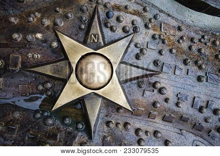 Iron Emblem Star Compass Wind Rose With Eight Tips Medallion With Polar Coordinates Compass With A B