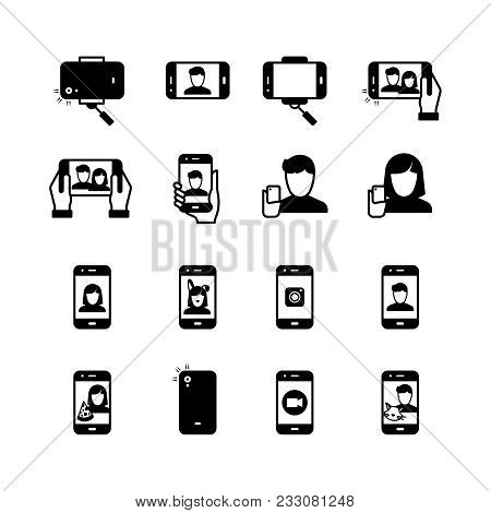 Selfie, Person With Mobile Phone Taking Photo Black Silhouette Vector Icons. Illustration Of Photo P