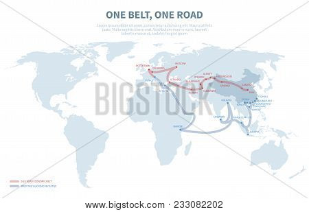 Asia And Europe International Transit Way. Chinese Transport New Silk Road. Export And Import Path G