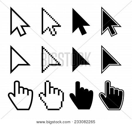 Clicking Mouse Cursors, Computer Finger Pointers Vector Set. Mouse Pointer Finger, Cursor Arrow Hand