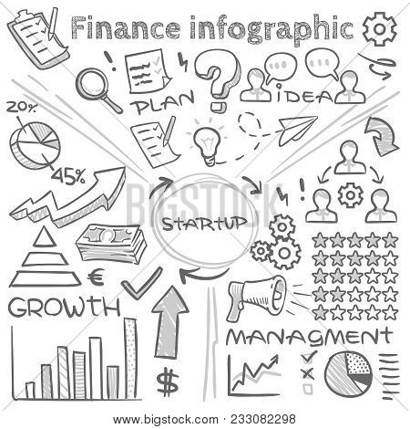 Hand Drawn Finance Vector Infographics With Doodle Charts And Sketch Diagrams. Finance Business Char