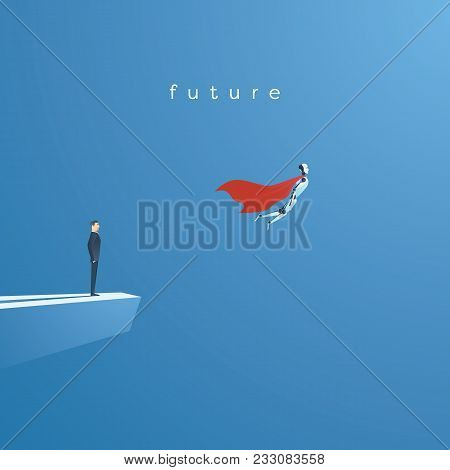 Ai Or Artificial Intelligence Vector Concept With Ai Robot Flying As Superhero. Symbol Of Future Tec