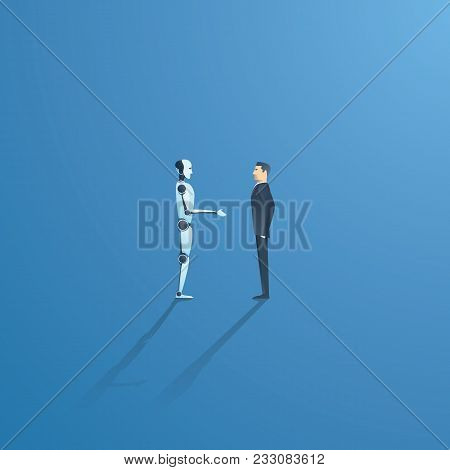 Ai Or Artificial Intelligence Vector Concept With Ai Robot Handshake With Human. Symbol Of Future Co