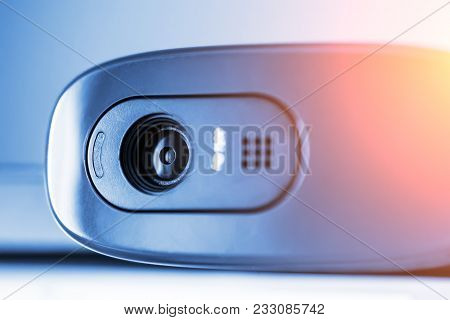 Modern Web Camera, Close Up, Blue Toned With Light Effect