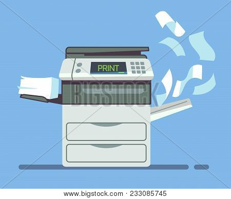 Professional Office Copier, Multifunction Printer Printing Paper Documents Isolated Vector Illustrat