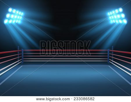 Empty Wrestling Sport Arena. Boxing Ring Dramatic Sports Vector Background. Sport Competition Ring F