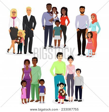 Vector Illustration Set Of Different Nationals Couples And Families. People Of Different Races, Nati